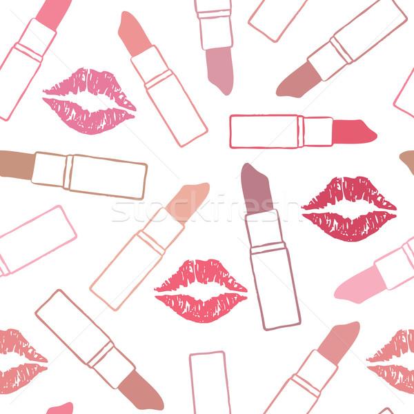 Vektör dudaklar öpücük renk kadın Stok fotoğraf © sanjanovakovic