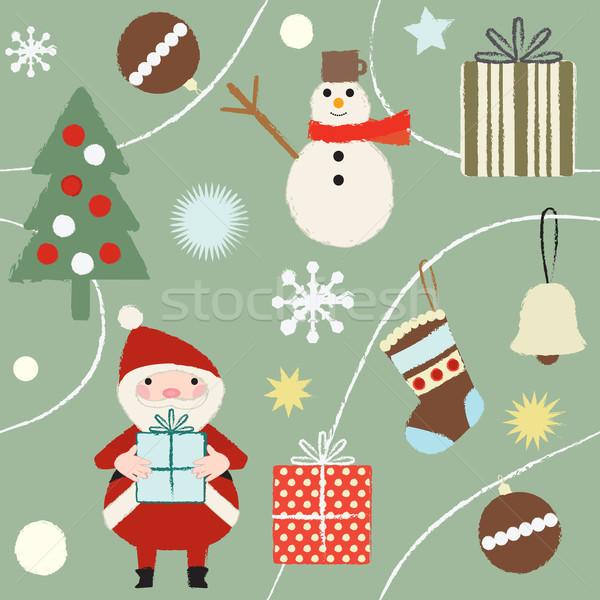 Noel kış Retro mutlu dizayn Stok fotoğraf © sanjanovakovic