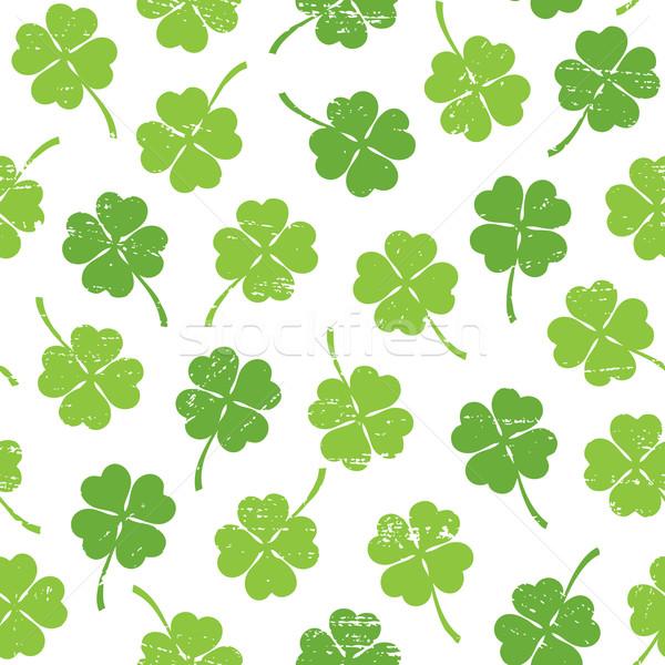 Seamless pattern with four leaf clover Stock photo © sanjanovakovic
