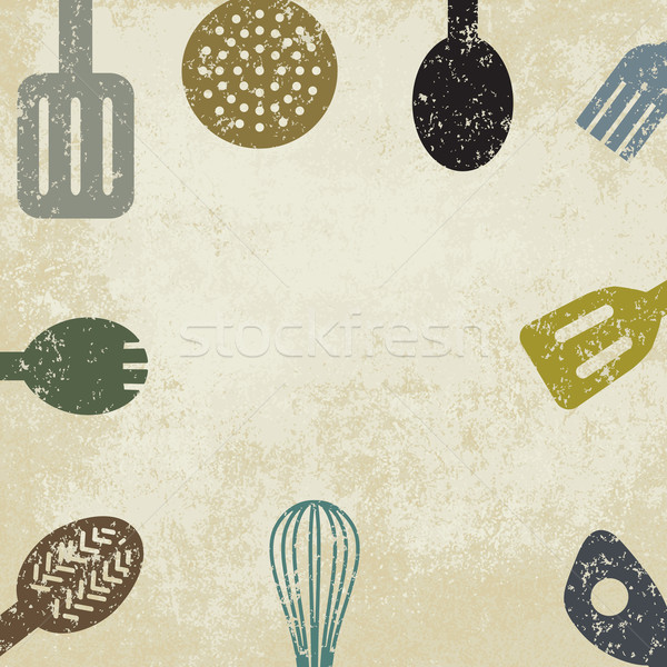 Vintage Cooking Themed Background Vector Illustration