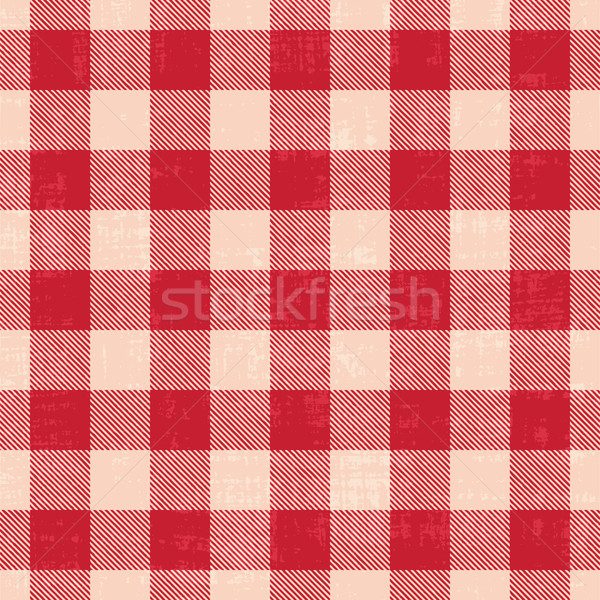 Red and white scratched plaid gingham vector pattern background