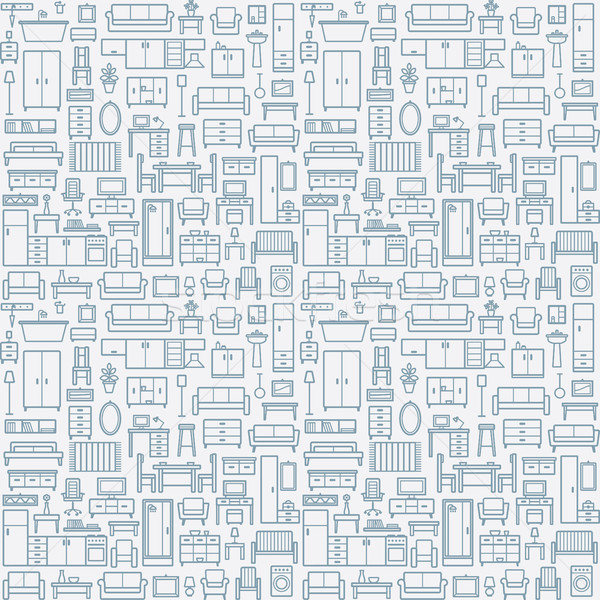 Vector seamless pattern background with home furniture outline icons 9 Stock photo © sanjanovakovic