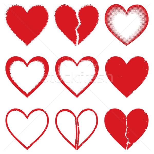 Stok fotoğraf: Kalpler · vektör · siluet · simgeler · sevmek