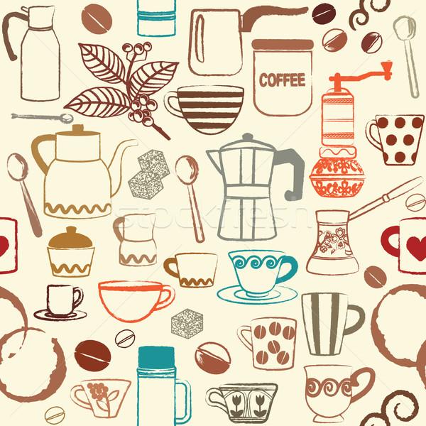 Retro seamless background with hand drawn coffee related symbols Stock photo © sanjanovakovic
