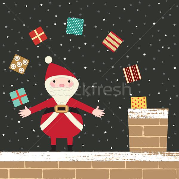 サンタクロース 屋上 プレゼント 煙突 空 雪 ストックフォト © sanjanovakovic