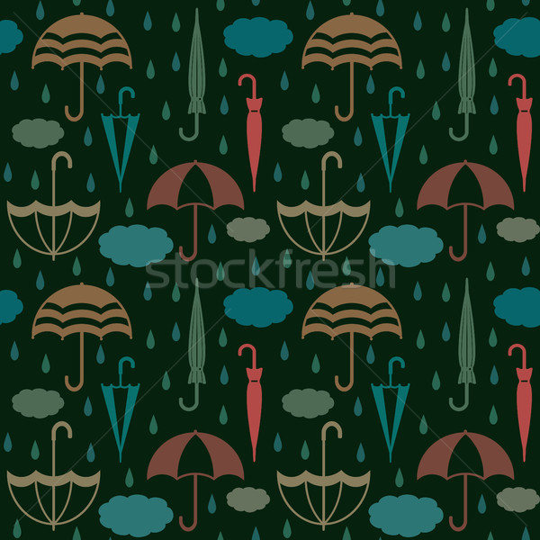 Retro umbrellas with clouds and raindrops vector seamless pattern background Stock photo © sanjanovakovic