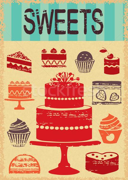 Bağbozumu pasta poster kekler şekerleme Eski kağıt Stok fotoğraf © sanjanovakovic