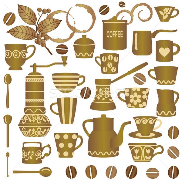 Vintage golden coffee related symbols collection Stock photo © sanjanovakovic