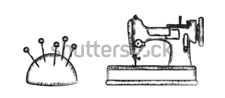 Sewing symbols set 3 – Pin Cushion and Sewing Machine   Stock photo © sanjanovakovic