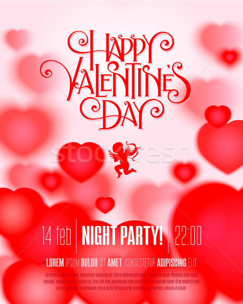 Valentin jour flyer saint valentin fête main Photo stock © sanyal