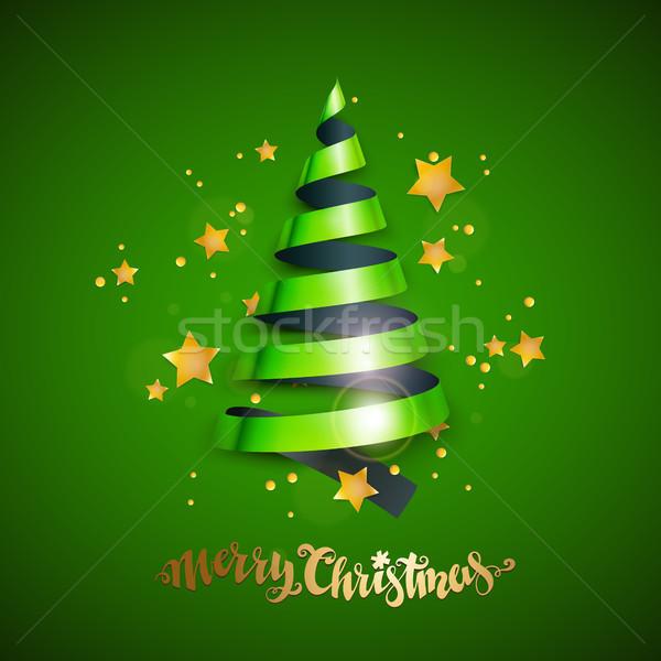 şerit noel ağacı neşeli Noel yılbaşı tebrik kartı Stok fotoğraf © sanyal
