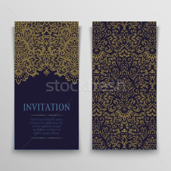 Set Gruß Karten antiken Einladung Ornamente Stock foto © sanyal
