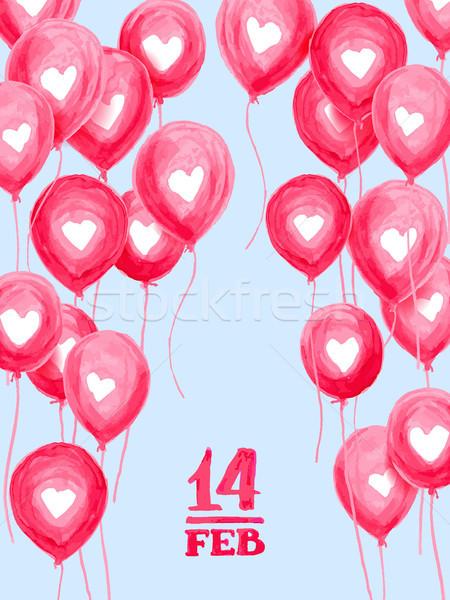 Valentin nap üdvözlőlap szeretet kéz levegő golyók Stock fotó © sanyal