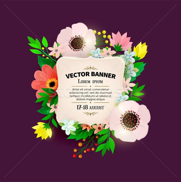 Virágmintás keret terv virágcsokor klasszikus borító Stock fotó © sanyal