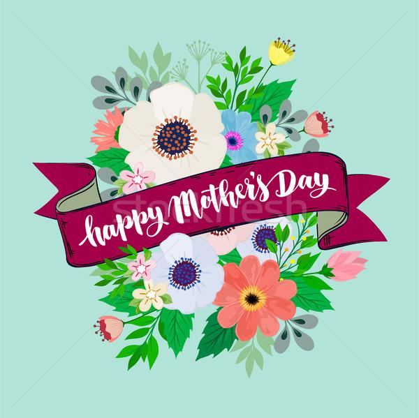 Boldog anyák napját gyönyörű üdvözlőlap fényes virágok boldog Stock fotó © sanyal