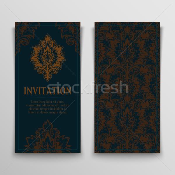 Ayarlamak tebrik kartları antika davetiye süsler Stok fotoğraf © sanyal