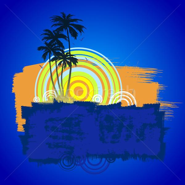 Palma praia praia tropical palmeiras céu natureza Foto stock © sanyal