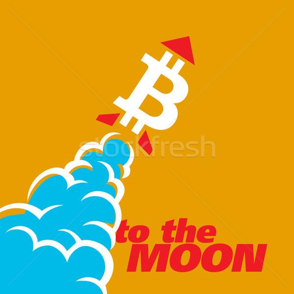Bitcoin symbole comme fusée stylisé vecteur Photo stock © sanyal