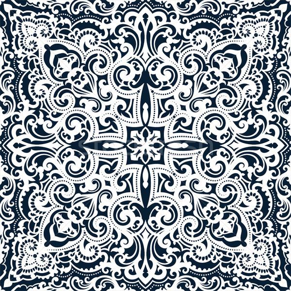 Vektor damaszt végtelen minta elegáns luxus textúra Stock fotó © sanyal