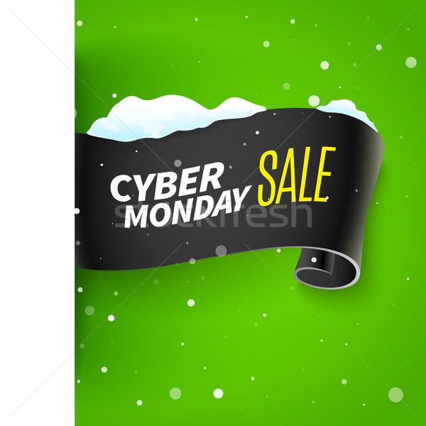Black friday vente ruban neige réaliste bannière Photo stock © sanyal