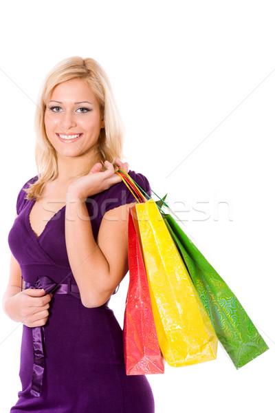 Femme Shopping jeune femme sacs isolé Photo stock © sapegina
