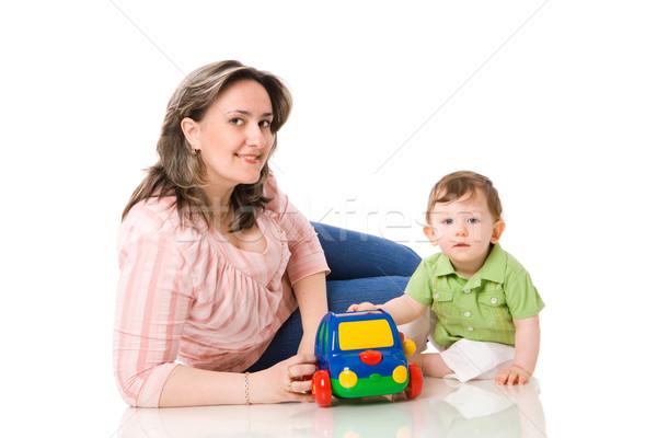 Madre jugando nino coche aislado Foto stock © sapegina