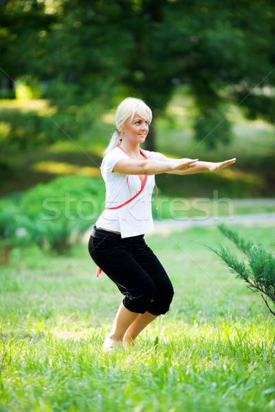 Stockfoto: Jonge · vrouw · zomer · park · gezondheid · sport
