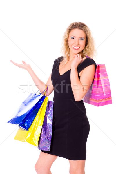Stok fotoğraf: Kadın · alışveriş · genç · kadın · çanta · yalıtılmış