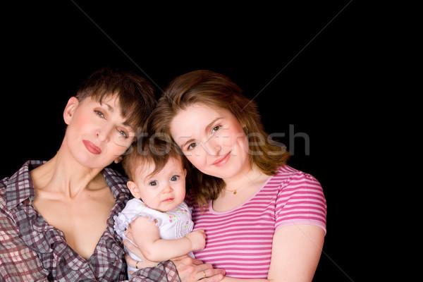 Családi portré három generációk sötét gyermek anya Stock fotó © sapegina