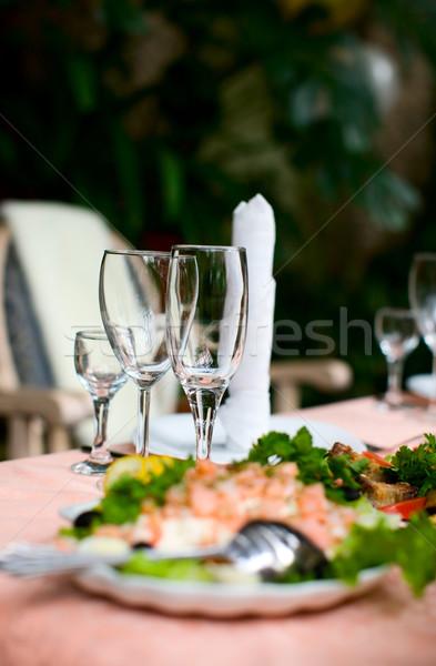 Bril drie lege schone transparant voedsel Stockfoto © sapegina