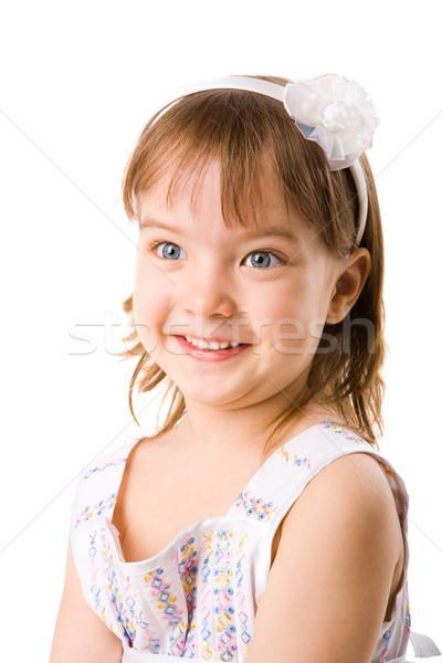 Stock fotó: Vicces · lány · kislány · készít · vicces · arc · izolált