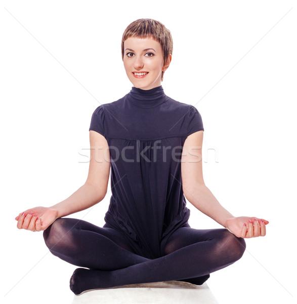 ül jóga pozició nő mosolyog felfelé néz Stock fotó © sapegina