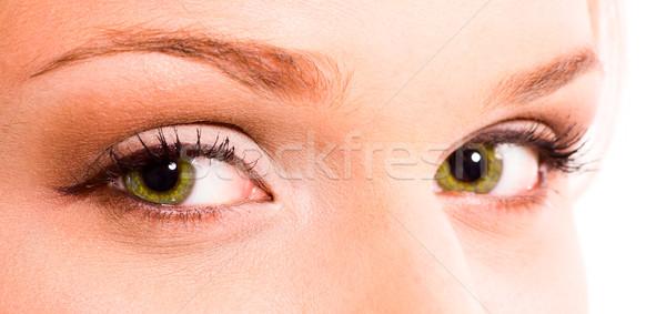 Zielone oczy piękna młoda dziewczyna oczy młodych Zdjęcia stock © sapegina