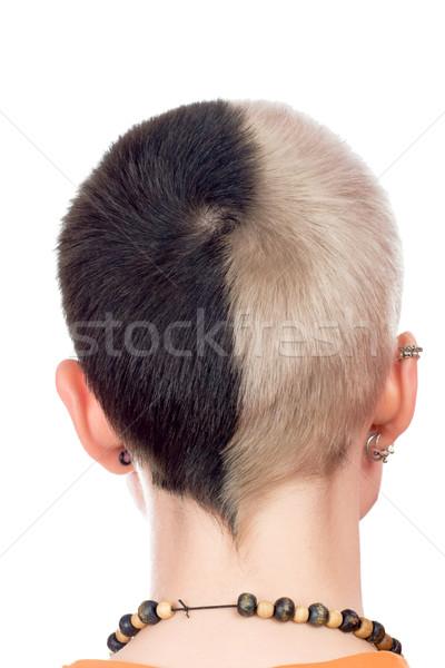 Сток-фото: назад · голову · подростку · панк · изолированный · белый