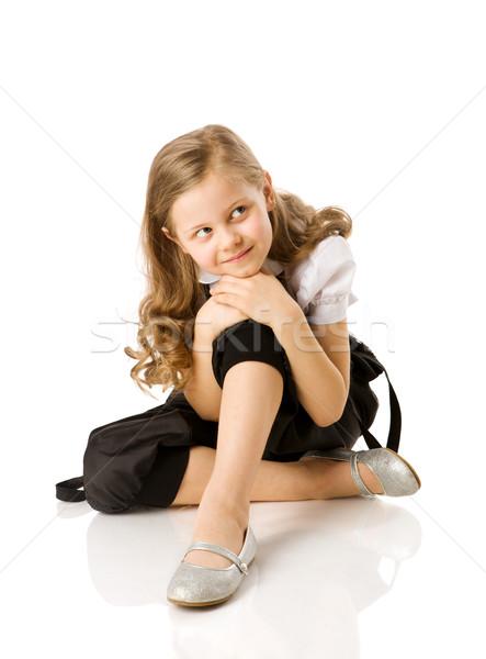 Meisje gelukkig vergadering geïsoleerd witte glimlach Stockfoto © sapegina