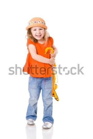 Foto stock: Quatro · anos · menina · little · girl · em · pé · fechado