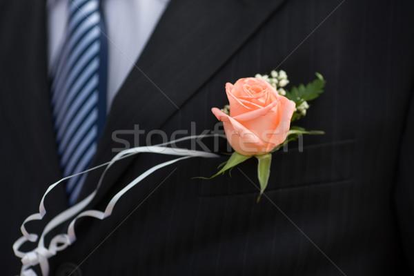 Knoopsgat steeg detail bruiloft bloem pak Stockfoto © sapegina