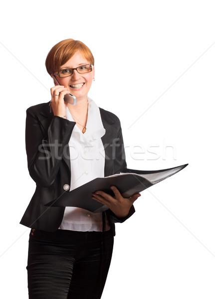 Iş kadını konuşma telefon yalıtılmış beyaz Stok fotoğraf © sapegina