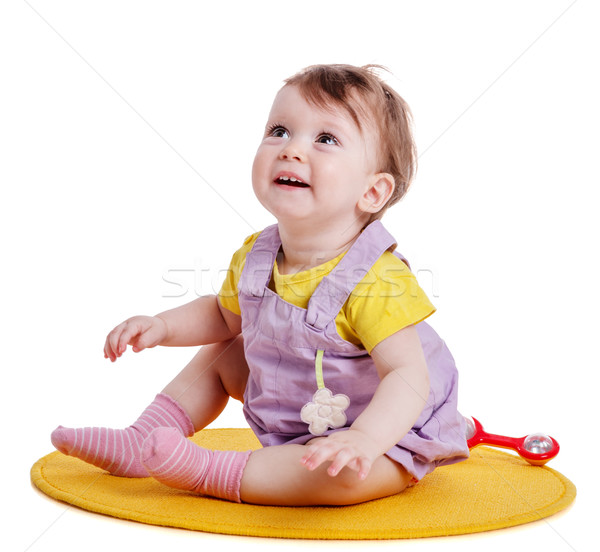 Stock photo: Girl look up smiling