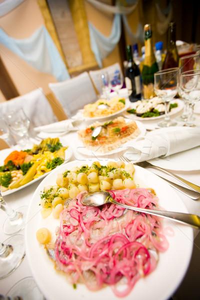 Kafe tablo gıda mutlu üzüm salata Stok fotoğraf © sapegina