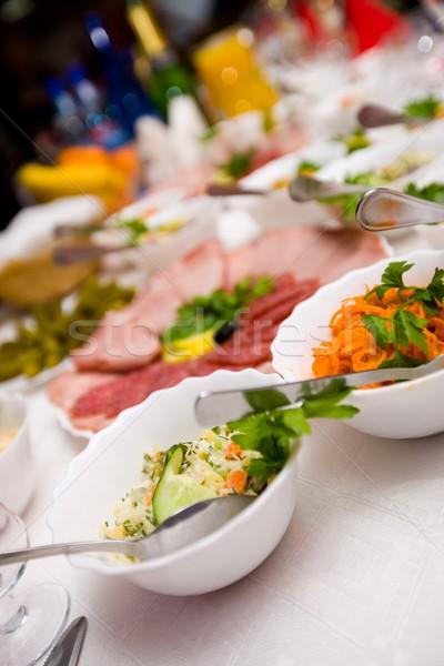 Kávézó asztal étel hús szőlő olajbogyók Stock fotó © sapegina