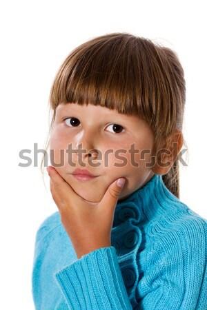 Meisje ernstig kort haar bruine ogen kind Stockfoto © sapegina