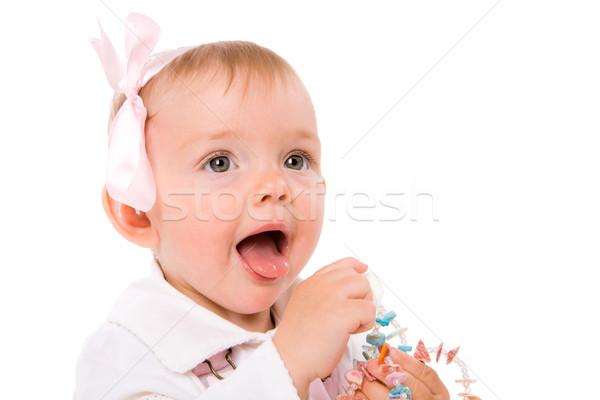 Adorable abierto boca aislado blanco Foto stock © sapegina