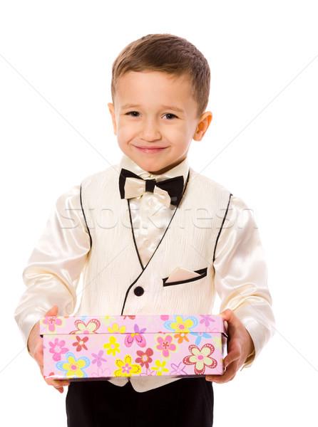 Jongen aanwezig weinig glimlachend vak Stockfoto © sapegina