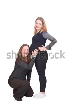 Eşcinsel aile iki kadın bebek yalıtılmış Stok fotoğraf © sapegina