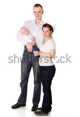 Mutlu aile bebek birlikte yalıtılmış beyaz Stok fotoğraf © sapegina
