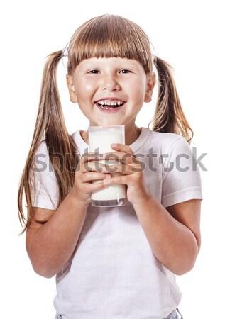 Kız süt altı yıl cam Stok fotoğraf © sapegina