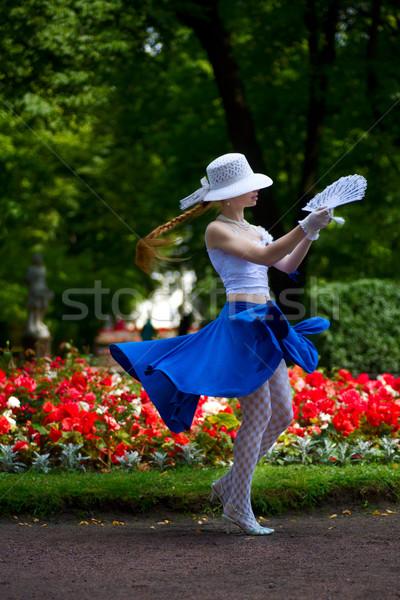Dancing with fan Stock photo © sapegina