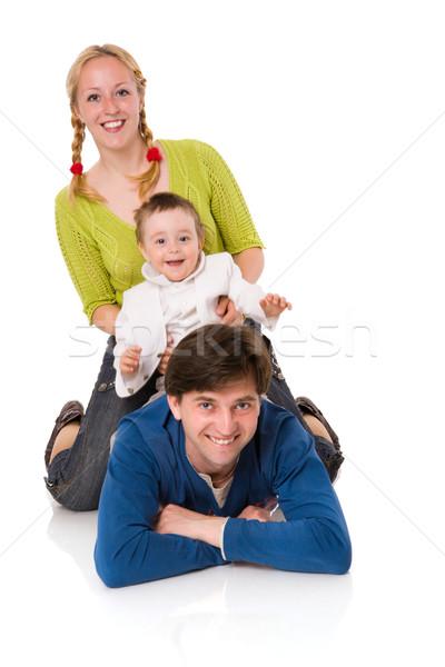 Сток-фото: счастливая · семья · Kid · вместе · изолированный · белый · женщину