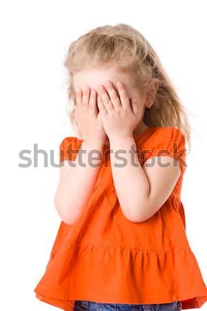 Ijedt lány kicsi rejtőzködik arc izolált Stock fotó © sapegina